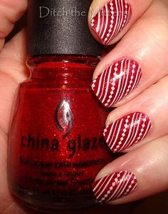 Ditch the Mittens: Wrapping Paper Nails - (China Glaze) Ruby Pumps Design - (KSP) White (IP) m65