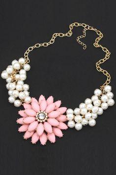 Sparkle Faux Pearl Necklace #necklace #floral #chain