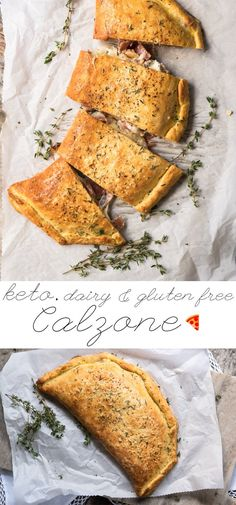 This gluten free and keto calzone pays a great homage to the classic Italian turnovers made with pizza dough. This one, however, uses our (dairy free!) keto dough to yield an awesome low carb dish. Dairy Free Keto Recipes, Dairy Free Pizza, Healthy Low Carb Recipes, Vegan Gluten Free, Gluten Free Calzone Recipe, Dairy Free Dinners, Diet Recipes, Gluten Free Italian Bread Recipe, Dairy Free Lunches
