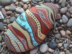 Painted Beach Stone Art - by Christine Salva