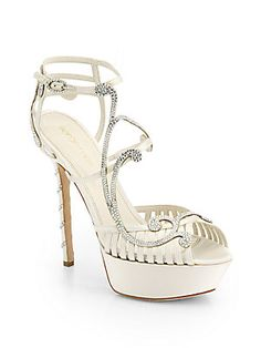 """Sergio Rossi Crystal-Coated Satin Sandals Icy Swarovski crystals cascade down this artfully crafted satin pair for a dazzling effect.  Self-covered heel, 5¼"""" (130mm) Covered platform, 1¼"""" (30mm) Compares to a 4"""" heel (100mm) Swarovski crystal-coated satin upper Adjustable ankle strap Leather lining and sole Padded insole Made in Italy"""