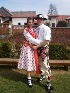 A Polish Goral couple in the tradition folk costumes of the Podhale region of Poland in the Carpathian mountains