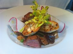 Wild seasonal mushrooms with duck breast an radishes from SUSHISAMBA park