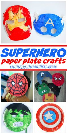 Superhero crafts for kids using paper plates