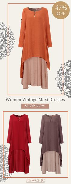 [Newchic Online Shopping] 47%OFF Women Two Layers Long Sleeve Vintage Maxi Dresses