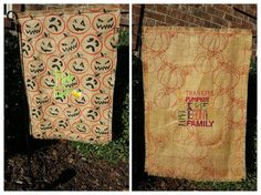 Garden Flag front and back...printed burlap