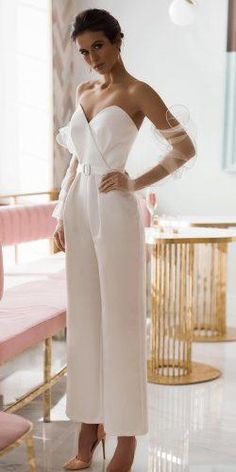 Wedding Dresses Lace Red Trend 27 Wedding Pantsuit And Jumpsuit Ideas wedding pantsuit ideas sweetheart strapless neckline simple ave dress Wedding Dress Empire, Wedding Pantsuit, Civil Wedding Dresses, Lace Wedding Dress, Wedding Dress Trends, Wedding Suits, Lace Dress, Wedding Bride, Wedding Parties