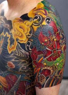 Japanese half-sleeve and bodysuit tattoo by - Thomas Ludwig Japanese Tattoo Meanings, Japanese Tattoo Art, Japanese Tattoo Designs, Japanese Sleeve Tattoos, Irezumi, Yakuza Style Tattoo, Body Art Tattoos, Tattoo Drawings, Raijin Tattoo