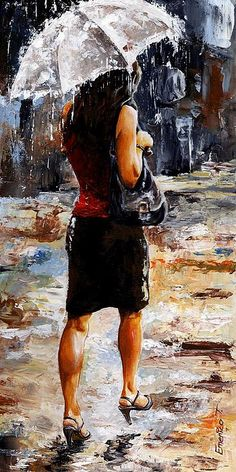 Emerico Imre Toth - Woman of New York 04 - Rainy Day series.