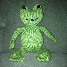 Hand knit stuffed animal - frog