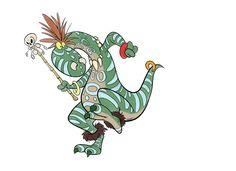 Dino Medicine Man Dancing. Character Design.