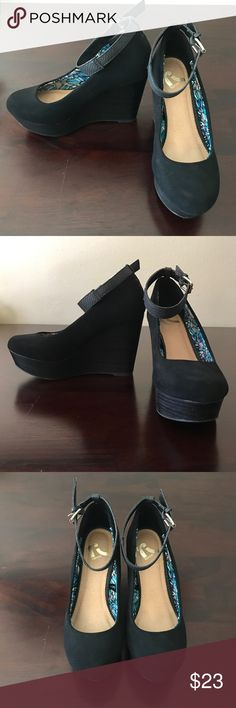 """Black Ankle Strap Wedges Only worn once! These black wedges are super comfy and cute. Features 4"""" heel and 1"""" platform. Great for work or for going out. In excellent used condition. True to size. Report Shoes Wedges"""
