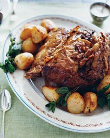 Serve roast beef with all the trimmings for an easy meal rich in flavor. The centerpiece rib roast is presented with potatoes that are ridged with a fork so they can soak up ample pan juices. The potatoes can be boiled, tossed with oil, and refrigerated until needed.