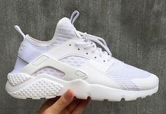 A first look at the Nike Huarache Utility. Nike Huarache, Nike Air Huarache Ultra, Latest Sneakers, New Sneakers, Sneakers Fashion, White Huaraches, Baskets, New Sneaker Releases, Blue Nike