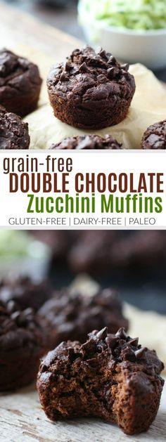 Grain-free Double Chocolate Zucchini Muffins | gluten free muffin recipes | gluten free zucchini recipes | homemade zucchini muffins | gluten free breakfast recipes | paleo muffin recipes | dairy free muffin recipes | recipes using fresh zucchini || The Real Food Dietitians