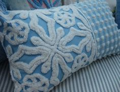 Chenille Pillow 12x20 Vintage Bedspread Fabric French Blue Cottage Shabby Chic