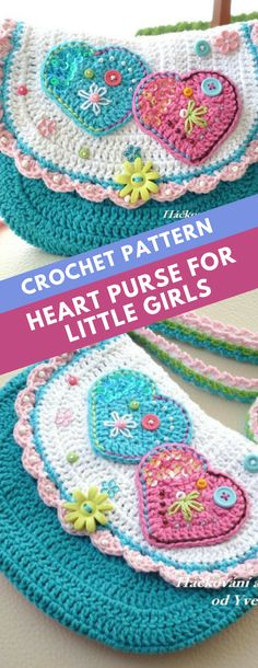 Adorable crochet purse with heart appliques #ad #crochet