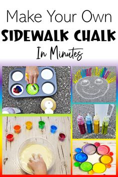 Three simple ingredients takes sidewalk chalk to a whole new level. With bright beautiful colors you can create a rainbow quickly and easily. Make your own sidewalk chalk that is bright on sidewalks and kids will love creating their own chalk and then creating with it. #sidewalkchalk #makeyourownsidewalkchalk #liquidsidewalkchalk Outdoor Activities For Kids, Rainy Day Activities, Outdoor Learning, Kids Learning Activities, Spring Activities, Summer Arts And Crafts, Creative Arts And Crafts, Creative Ideas, Summer School