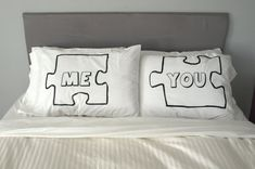 You + Me puzzle piece pillow case set. These remind me of similar pillows I had back in the day. Love!
