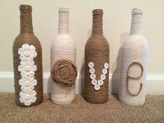 Love Twine wrapped wine bottle decor