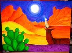 "Brightly Colored Original Art Acrylic Painting: 18"" x 24"" Canvas - Full Moon Over Sedona"