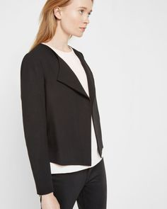 Waterfall front jacket - Black | Tailoring | Ted Baker UK