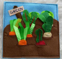 Vegetable Garden Felt page Quiet book pages Fabric Activity Children book…