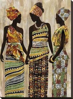 size: Stretched Canvas Print: African Beauties by Mark Chandon : Using advanced technology, we print the image directly onto canvas, stretch it onto support bars, and finish it with hand-painted edges and a protective coating. African Beauty, African Women, Afrique Art, African Quilts, African Art Paintings, Black Women Art, Art Women, African American Art, African Culture