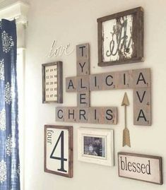 SCRABBLE WALL ART...with Family Names! This is such a cute idea...love it!