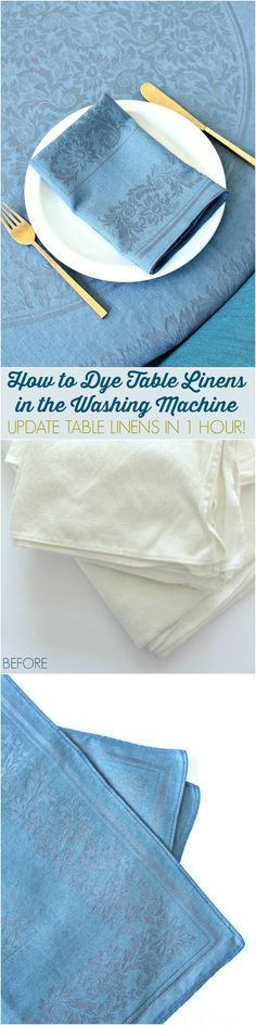 How to update table linens by dyeing them in the washing machine // DIY Gun Metal Dyed Table Cloth // PLUS a review of Rit Dye vs. iDye - what brand works best?