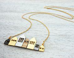 Long Copenhagen Necklace, signature necklace, minimalist houses, Scandinavian design