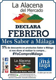 En febrero, si nos dices #YoComproMálaga, te hacemos un 5% de descuento en los productos que tengan el sello #SaboraMálaga. ¡Aprovecha para probar los magníficos productos que tenemos en la provincia de Málaga! :) #vino #aceite #mermelada #conservas #huevosCamperos #licores #vermut #dulces... La alacena del mercado, #mercadoBailén #Málaga #yoestoyconsaboramalaga