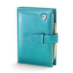 Bijou Personal Organiser in Turquoise Lizard & Cream Suede - Aspinal of London