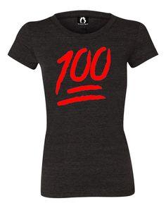 Womens 100 One Hundred Emoji Emoticon Tri-Blend T-shirt