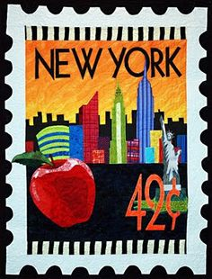 Stamp quilt by Debra Gabel. If you live in (or near) NYC, this sure looks like home!