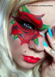 DIY Halloween Makeup : Red Rose