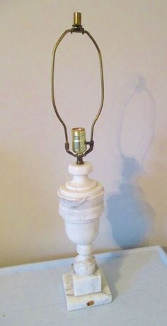 Vintage Neoclassic Italian Carved Marble Urn Shape Table Lamp  #Neoclassic