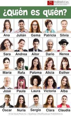 Fichas para jugar al quién es quién - Un clásico en la enseñanza de idiomas: http://bit.ly/quienquien   Más materiales en www.ProfeDeELE.es