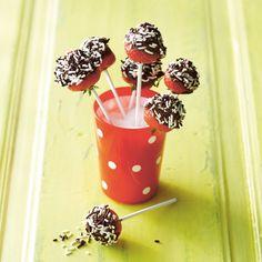 Leuk cadeau ideetje voor moederdag: Zoete aardbei lolly met hagelmix