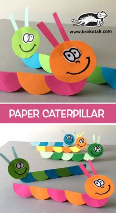 krokotak - paper caterpillar using paper circles folded in half. (Tip from the video: stack all but one circle and fold them together. Paper Crafts For Kids, Projects For Kids, Diy For Kids, Easy Crafts, Diy And Crafts, Wood Crafts, Diy Paper, Painting Activities, Craft Activities
