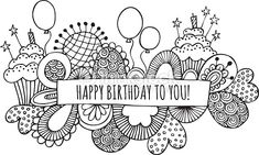 Vector Art : Happy Birthday to You Hand Drawn Doodle Vector