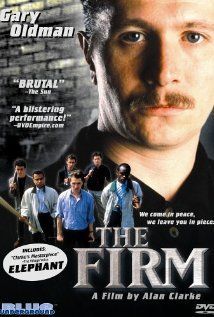"The Firm was an episode of a BBC TV series in 1989. A young (30yo) Gary Oldman stars as Bexie -- a middle class father, real estate agent, weekend soccer player, and the boss of a hooligan gang. His goal is to form a national firm so they have enough numbers to be a force ""for England"" at the Euro Cup. But really, the point of the movie is to show that these gangs exist for the brotherhood and ""buzz"" of subjecting their rivals to acts of brutality or vandalism."