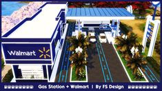 The Sims 4 Lots, Sims 4 Cc Furniture, Gas Station, Walmart, Retail Stores, Second Life, Places, Houses, Game