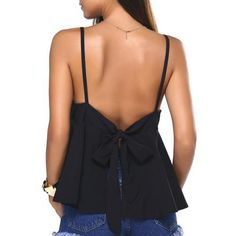 Bowknot Backless Slit Cami Top
