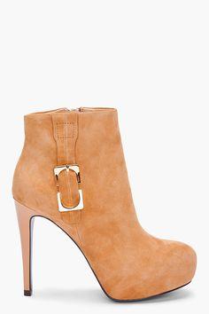 Diane Von Furstenberg Beige Rory Suede Boots $375.00