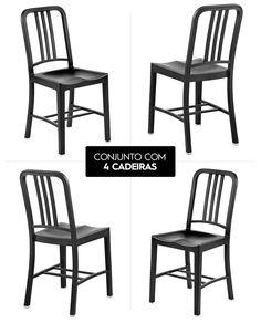 Conjunto 4 Cadeiras Para Cozinha Aldan Cor Preta