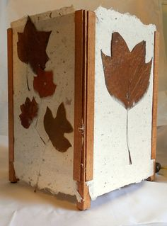 Large Modern Natural Hand Made Paper Light with Chocolate Brown Tulip Leaves by papermajik, $125.00