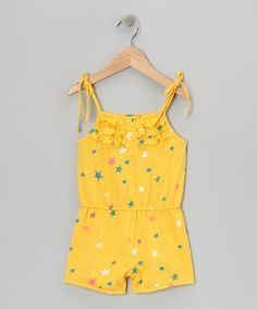 291695728cc S.W.A.K. Yellow Stars Ruffle Romper - Girls