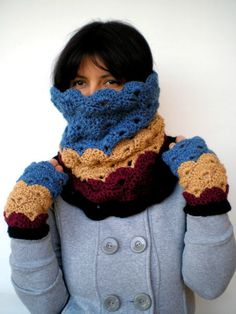 gorgeous multicolor cowl with matching fingerless gloves. This set is sold byNonnaLia.