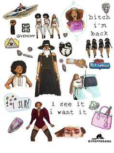 Choose between 2 stickers or 1 magnet, illustration depicts Queen B, a character…